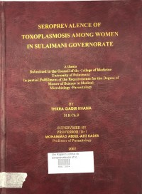 Image of Seroprevalence Of Toxoplasmosis Among Women In Sulaimani Governorate